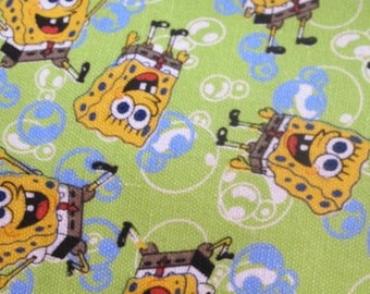 """Green"" sponge bob cotton fabric"