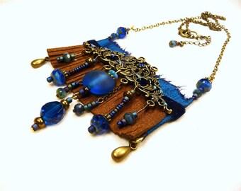 Long Necklace blue electric silk velvet and Brown fringe