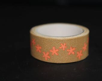 roll of masking tape 3 m orange flowers