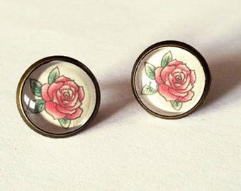 Old school tattoo Rose earrings