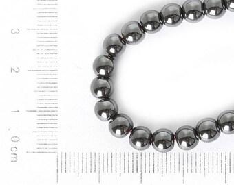 10 beads hematite, round, 6mm