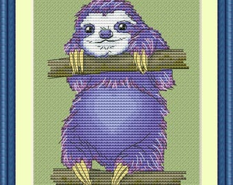 Sloth blue Cross Stitch Pattern Animal pattern Modern cross stitch pattern PDF Embroidery room wall decor