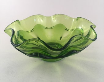 Vintage Viking Epic Green Crimped Ruffled Art Glass Bloom Bowl Mid Century Retro, Bloom Bowl Double Ruffle Vintage Glass Bowl Emerald Green