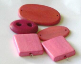 pink beads and fushia set 5 pieces