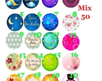 cabochon 25 mm glass choice Mix50-25