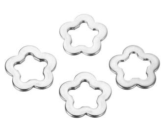 10 pendants charms smooth flower 11mm stainless steel
