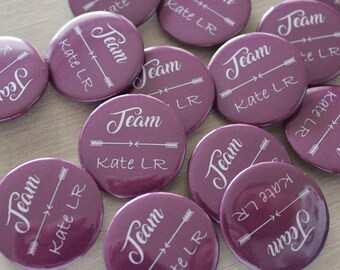 bachelorette party badge personalized with bride or guest name