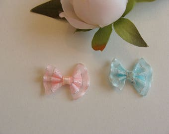 Set of 2 bow ties blue sky and peach 2 * 2, 5 cm