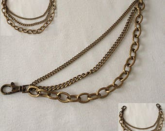 Chain 3 in1 bronze 30 cm with two hooks for bags, sewing notions designs