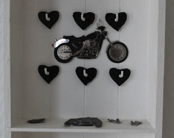"""Motorcycle"" theme wooden key box"