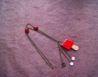 Bronze necklace chain cherry ice