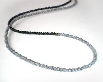 Necklace fine ethnic granite and black
