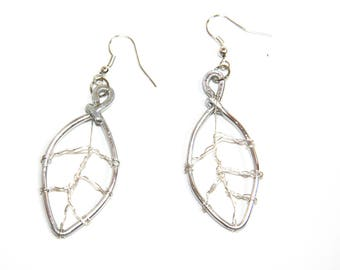 Aluminum leaf earrings