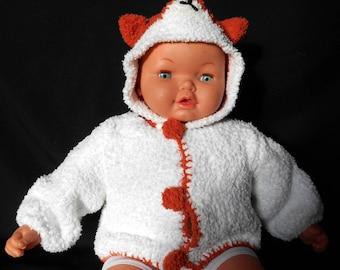 Wool baby 6 months vest hooded Fox
