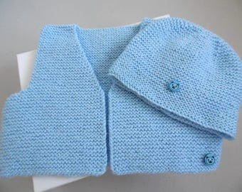 Hand knitted baby hat and vest set