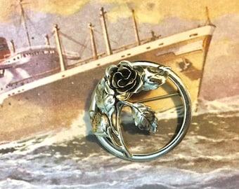 Vintage Danecraft Sterling Silver Rose Brooche