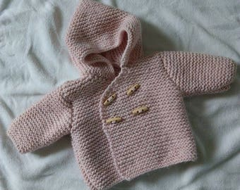 Powder Pink wool baby/reborn Pixie hooded coat size 3/6 months