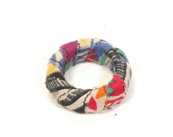 Fabric and recycled wood ring