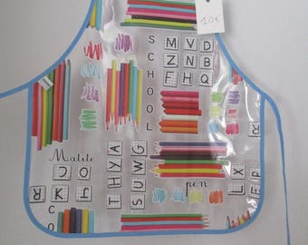 """Kids kitchen 1/2 years of """"school"""" oilcloth apron"""