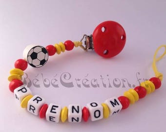 Pacifier clip personalized with the colors of the Spain
