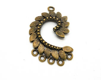 Charm connector spiral style bronze connector Peacock tail 5 holes