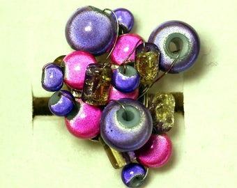 Ring iridescent beads fuchsia and purple
