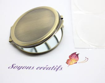 Mirror Bronze personalize to 50mm cabochon or polymer clay mosaic