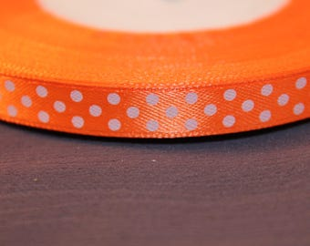 5 meters of satin jewelry scrapbooking with Orange dots Ribbon