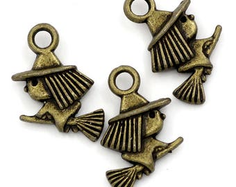 5 charms Bronze witch Halloween - SC23888 - 16x10mm