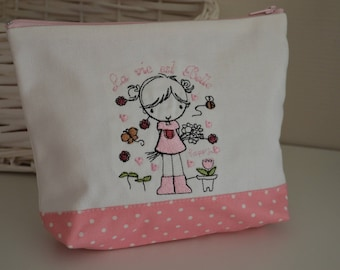 Kit embroidered girl and pink and white polka dots fabric
