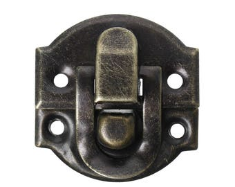 Set of 2 clasps latch for box, suitcase in metal bronze 30 x 27 mm
