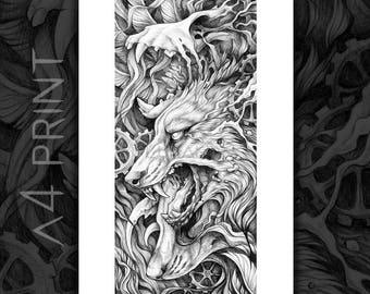"""A4 Print of """"Canis Lupus Vanitas"""""""