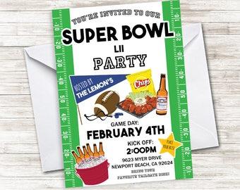 Superbowl Invite Invitation Digital 5x7 Football Game Super Bowl Green Sports Allstar Championship