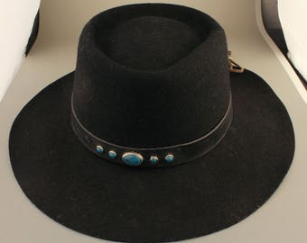 Black Wool Hat, SRV Hat, with Leather Band