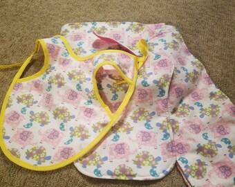 Elephant & Turtle Patterned Baby Blanket Bundle