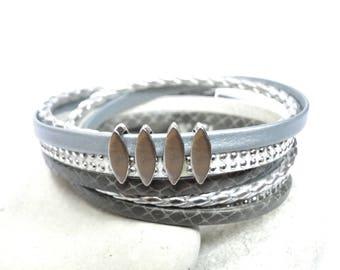 Women gray leather bracelet