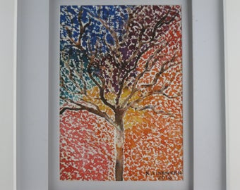 Watercolor Rainbow Tree with White Frame