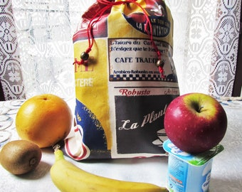 In 'Coffee', 34 laminated cotton waterproof lunch bag waterproof x 25 cm, scenes, snack bag purse, lunch, french vintage touch