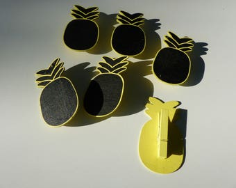 6 clips slate linen and wood large pineapple pattern 8 x 4.5 cm