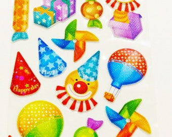 sheet of 23 stickers embossed party gift candy Hat