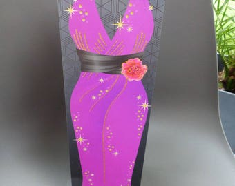 gift wrapping for bottle bag evening dress sequin and beaded necklace