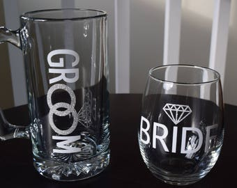 Bride and Groom Glasses, Wedding Favor, Wedding Gift, Wine Glass, Beer Glass, Wedding, Bridal Shower, New Couple