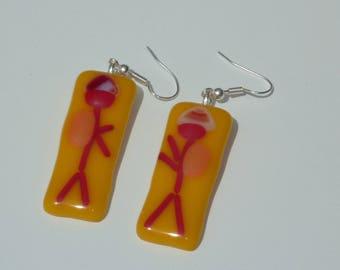 "Earrings ""Les aborigines"", fused glass"