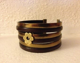 6 ROWS COLOR LEATHER BRACELET BROWN AND GOLD