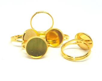 Ring cabochon setting 12 mm / ring to create color gold / Adjustable ring.
