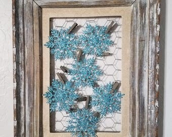 ON SALE Picture Frame/Wall Art/Rustic/French Country Decor/Shabby Chic/Nursery/Unique Home Accents/Barn Wood/Farmhouse/Chicken Wire