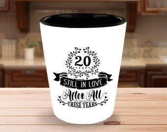20th Wedding Anniversary Shot Glass - Still In Love 20 Years - 1.5 oz Ceramic Shotglass
