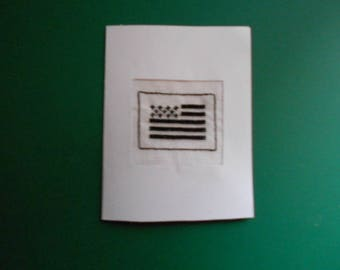 Handmade on canvas - breton flag embroidered card