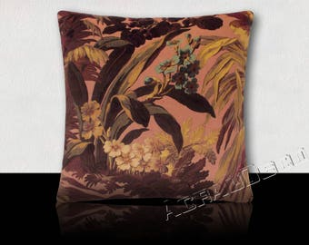 Pillow, Velvet Decor exotic flowers and lush foliage purple/yellow/turquoise/plum/black ink on a powder pink background.