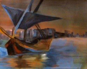 Acrylic painting | Handmade | Wall Hanging | Wall Art | Home Decoration | Seascape | Boat| Gift | Present
